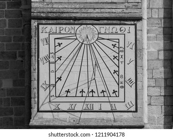ELY, UK - CIRCA OCTOBER 2018: Ely Cathedral sundial in black and white