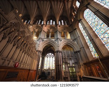 ELY, UK - CIRCA OCTOBER 2018: Ely Cathedral (formerly church of St Etheldreda and St Peter and Church of the Holy and Undivided Trinity) interior