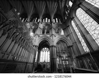 ELY, UK - CIRCA OCTOBER 2018: Ely Cathedral (formerly church of St Etheldreda and St Peter and Church of the Holy and Undivided Trinity) interior in black and white