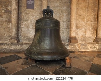 ELY, UK - CIRCA OCTOBER 2018: St Nicholas Church bell now at Ely Cathedral after it fell in 1898