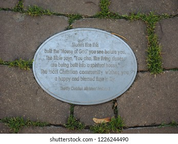 ELY, UK - CIRCA OCTOBER 2018: Ely Cathedral stone sign