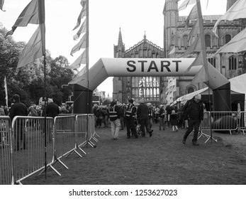ELY, UK - CIRCA OCTOBER 2018: BBC Countryfile for Children in Need ramble in black and white