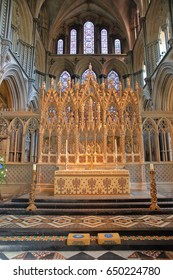 ELY, UK - MAY 26, 2017: The interior of the Cathedral - the Altar