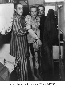 Emaciated 23-year-old Czech victim of dysentery in Nazi concentration camp at Flossenburg, Germany. When U.S. Army 97th Division liberated the camp. May 4, 1945.