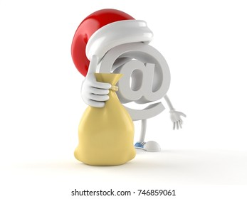E-mail character with santa hat isolated on white background. 3d illustration