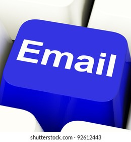 Email Computer Key In Blue For Emails Or Contacting