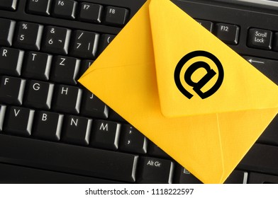email concept with envelop and keyboard showing modern communication