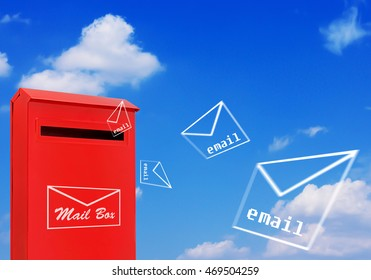 Email concept, red mail box and flying letter on blue sky background
