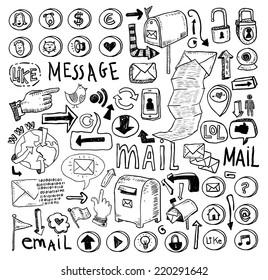 E-mail doodle set. Hand-drawn illustration.