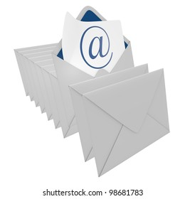 Email and group of envelopes