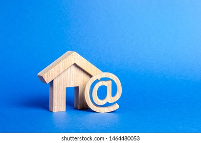 Email icon and house. Contacts for business, home page, home address. communication on Internet. Internet and global communication, digitalization of economy and processes. at commercial