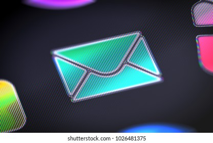 The e-mail icon on the screen. 3D illustration.