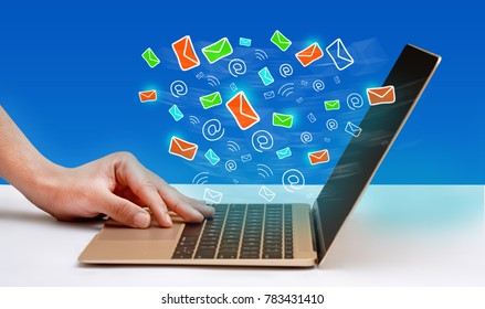 Email Icons coming out of laptop screen