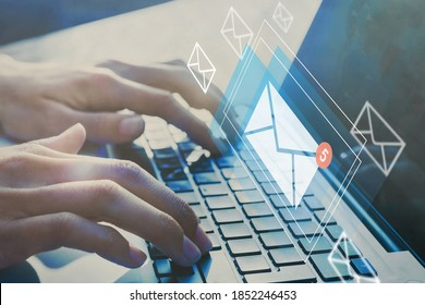 email inbox, online communication and e-mail marketing concept