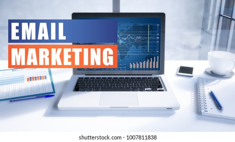 Email Marketing text concept with modern laptop screen in office environment. 3D render illustration business text concept.
