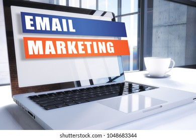 Email Marketing text on modern laptop screen in office environment. 3D render illustration business text concept.