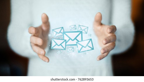 Email on hands, concept of connection