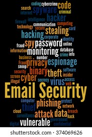 Email Security, word cloud concept on black background.
