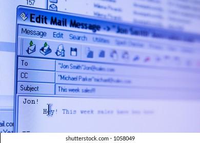 e-mail sending screen (window)