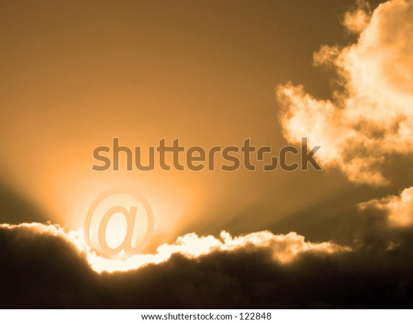 Email symbol in clouds
