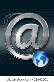 email symbol with globe