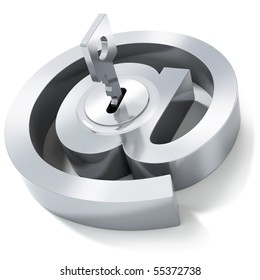 E-mail symbol with key. Internet security concept