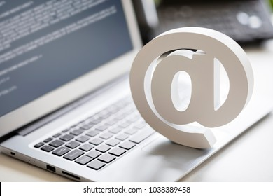 Email symbol on business laptop computer concept for internet, contact us and e-mail address