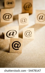 Email, vertical background with many e-mail symbols