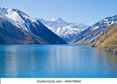 Embalse el Yeso reservoir in San Jose del Maipo, Chile