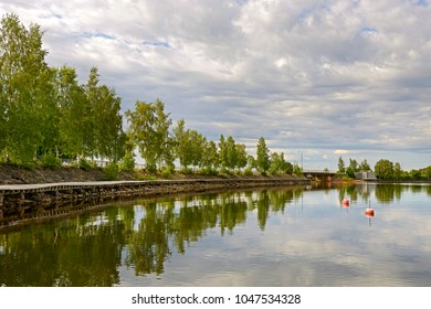 Embankment and bridge in city of Vaasa. Finland