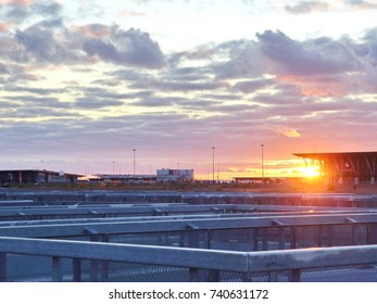 embankment bridges high-rise buildings at sunset