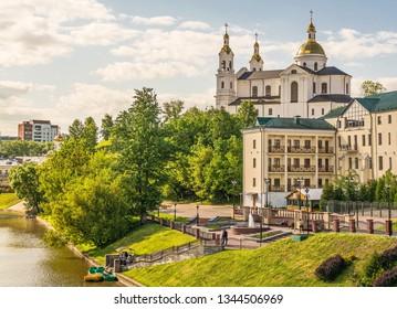 Embankment with  cathedral in Vitebsk. Belarus. Vitebsk. May 19, 2018