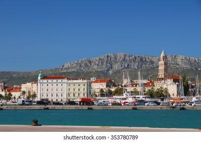 Embankment, city and mountains. Split, Croatia