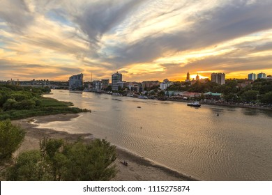 embankment of Don river; city of World Cup 2018;Evening landscape of the Don River, Rostov-on-Don,
