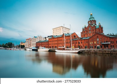 Embankment In Helsinki At Summer Evening, Finland. Uspenski Cathedral. Town Quay, Famous Place