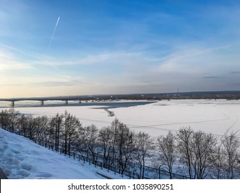 Embankment of the Kama River in Perm in winter