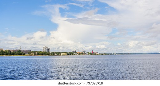 Embankment of Lake Onega in Petrozavodsk at summer day