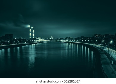The embankment of the Moscow river night view.