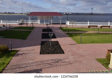 """The embankment of the navigable canal and the territory of the sanatorium """"Pearl of the Volga region""""."""