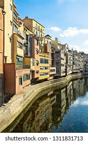Embankment of Onyar river with colorful houses. Girona, Catalonia, Spain, Europe.
