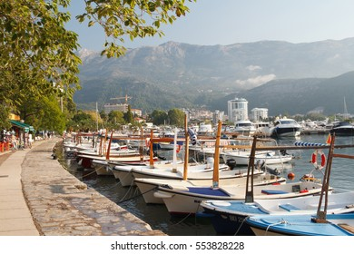 Embankment and pier in the old town. Montenegro, Budva, September 13, 2016