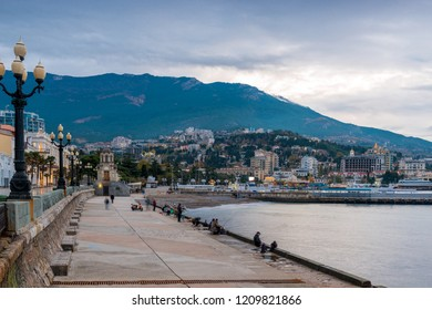 Embankment of the resort Yalta in the autumn afternoon, Crimea, Russia