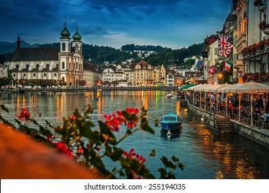 Embankment of Reuss at night, Lucerne, Switzerland