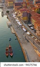 embankment Ribaira in old town of Porto, Portugal