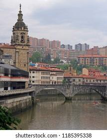 embankment of river Nervion in spanish city Bilbao