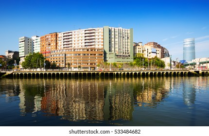 Embankment of  river and residential houses. Bilbao