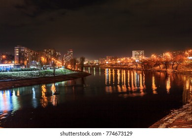 Embankment of Rusanovka district and the canal of Dnipro river in Kiev, Ukraine. Night shooting.