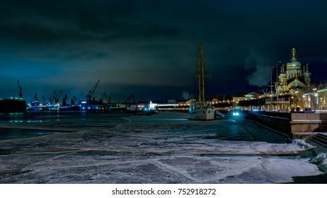 Embankment of St. Petersburg at night, Russia