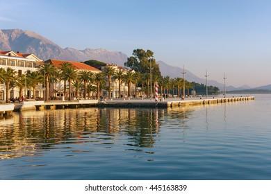 Embankment of Tivat city in winter. Montenegro