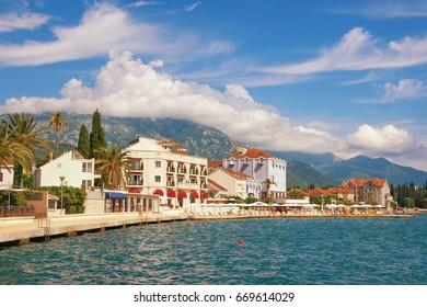 Embankment of Tivat town. Bay of Kotor, Montenegro